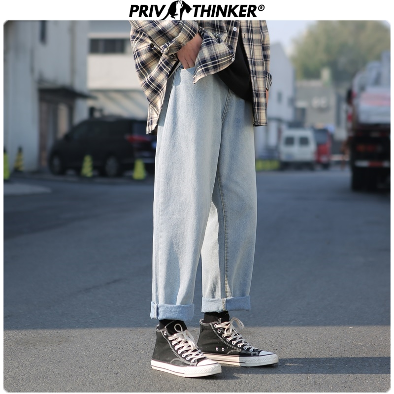 Privathinker Spring Straight New Men's Jeans 2020 Spring Fashion Pants Man Casual Korean Joggers Vintage Retro Denim Harem Pants