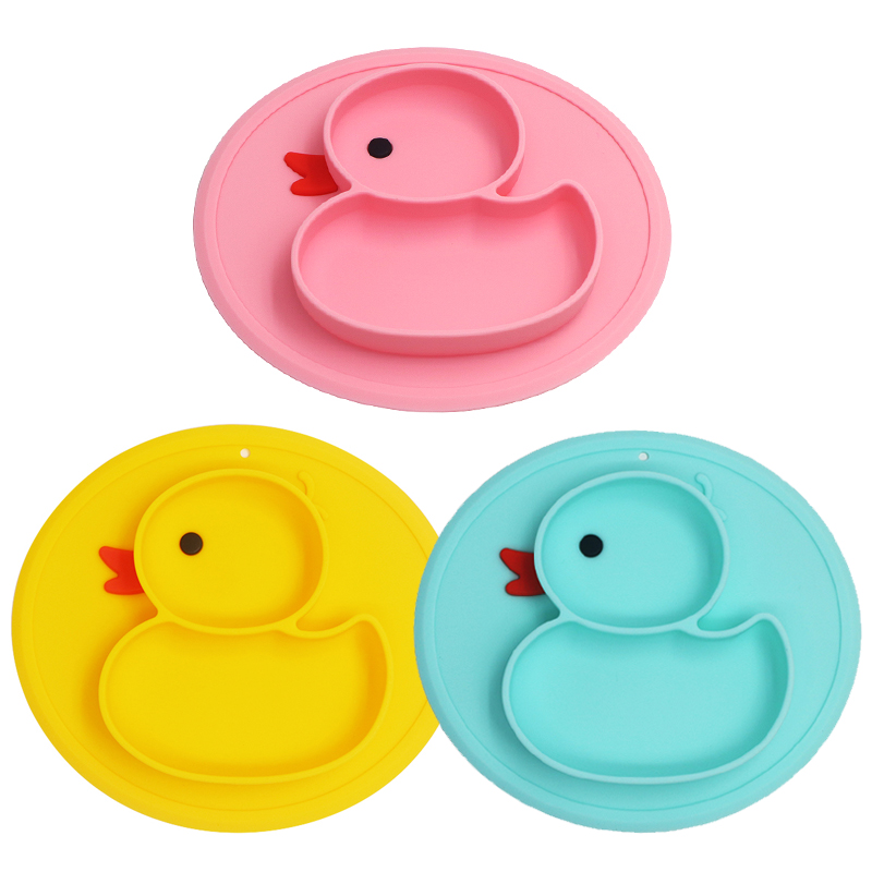 Baby Silicone Dining Plates Cute Cartoon Duck Toddler Child Training Plate Tray Tableware Kids Food Feeding Bowl Dishes Non-slip