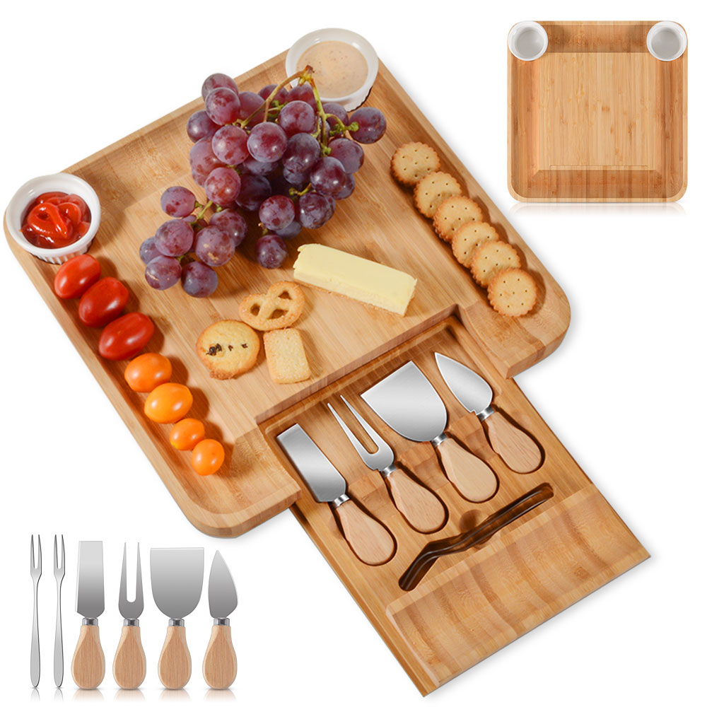 BAMBOO Handle Cheese Knives Board Set Cheese Plate Platter Cheese Knife Slicer Fork Scoop Cutter Cheese Tools image