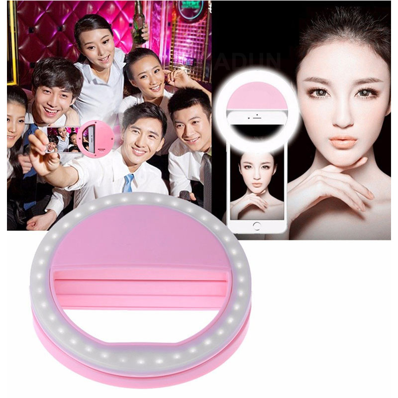 Universal Selfie Lamp Mobile Phone Lens Portable Flash Ring 36 LEDS Luminous Ring Clip Light for IPhone 11 Samsung Huawei LG