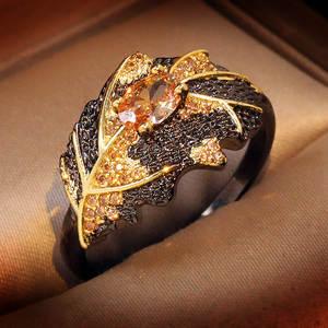 Wedding-Rings Topaz Fine-Jewelry Gold 925-Sterling-Silver Black Italian Retro Women Girls