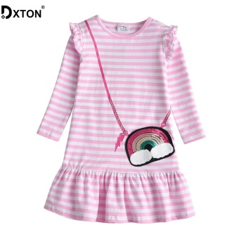 DXTON Girls Dresses 2019 Winter Long Sleeve Kids Dress for Girls Stripe Baby Costume Sequin Girls Dress Cotton Children clothing high quality dresses and coat winter autumn baby wear clothes girls clothing long sleeve warm children dress child clothing