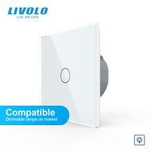 Livolo – Interruptor atenuador de iluminación para pared con panel, Regulador de intensidad de luz estándar europeo, 1 entrada y 1 vía, 220V, sin logotipo