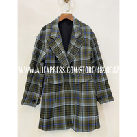 Retro Women's 2020 Long Sleeve Jacket Fashion Ms. Plaid Jacket fashion Street Wear Elegant Lapel Jacket high quality suit