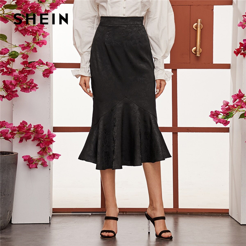 SHEIN Black High Waist Jacquard Mermaid Long Skirts Womens Spring Summer Ruffle Hem Party Elegant Bodycon Glamorous Skirt 1