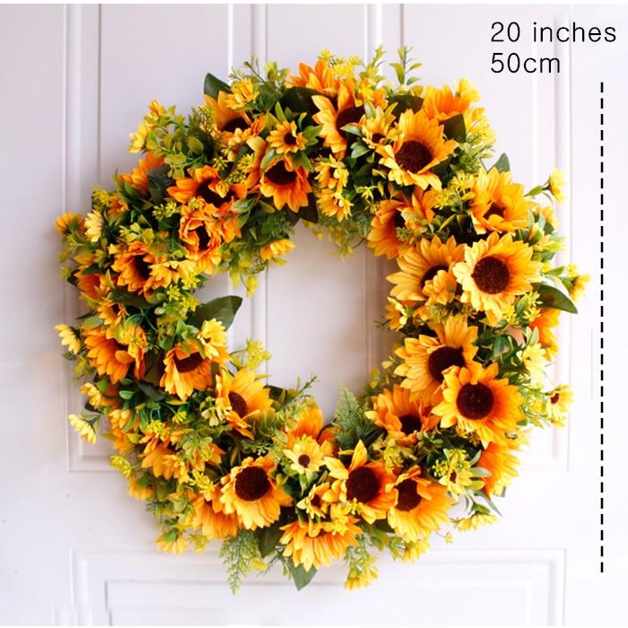 20'' Wedding Party Front Door Wreath Sunflower Summer Garland Wreath Door Decoration Rattan Floral Wreath Artifical Flowers