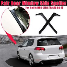 1 пара глянец Черный Защита от солнца на заднее стекло авто боковой Стикеры для спойлера Накладка для V-W Golf 6 MK6 GTI/GTR/GTD 2008 2009-2013 Canards сплиттер