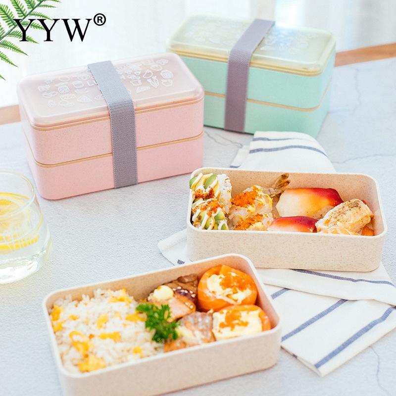 Plastic Easy Cleaning Lunch Box Double Layer Solid Color Bento With Chopsticks And Spoon Dinnerware Food Storage Container