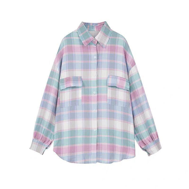 MISSKY 2019 New Spring Autumn Shirt For Women Pink Sunscreen Plaid Long Sleeve Chiffon Shirt Top Female Clothes