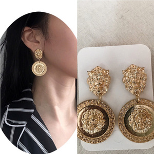 Europe and America Relief Lion Head Metal Ear Stud 2019 New Style Exaggeration Baroque Totem Retro Earrings Earrings
