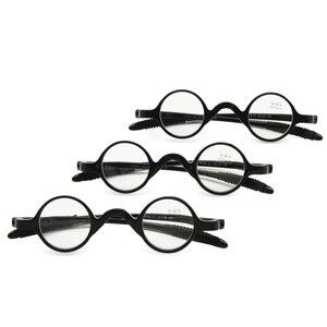 Image 1 - 3 çift paketi klasik Retro yuvarlak çerçeve okuma gözlüğü, öğretmen müzisyen esnek cep okuyucu + 1.0 ila + 3.5 ile birlikte gelir yumuşak kılıf