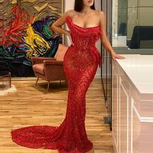 Sexy Red Sequins Formal Evening Dresses Sheer Mermaid With Ruffles Strapless Prom Girls Party Long Gowns For Galal Event 2020