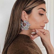 JIJIAWENHUA New Trend Ladies Shiny Rhinestone Drop Earrings Modern Girl's Fashion Jewelry Accessories Hot Sale
