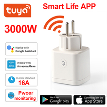 Tuya Smart Plug WiFi Socket EU 16A Power Monitor Timing Function  SmartLife APP Control Works With Alexa Google Assistant