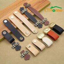 Кожаная ручная сумка ручки для дверцы ящика коричневый черный оборудование для обработки мебели украшение из цинкового сплава ручка комода