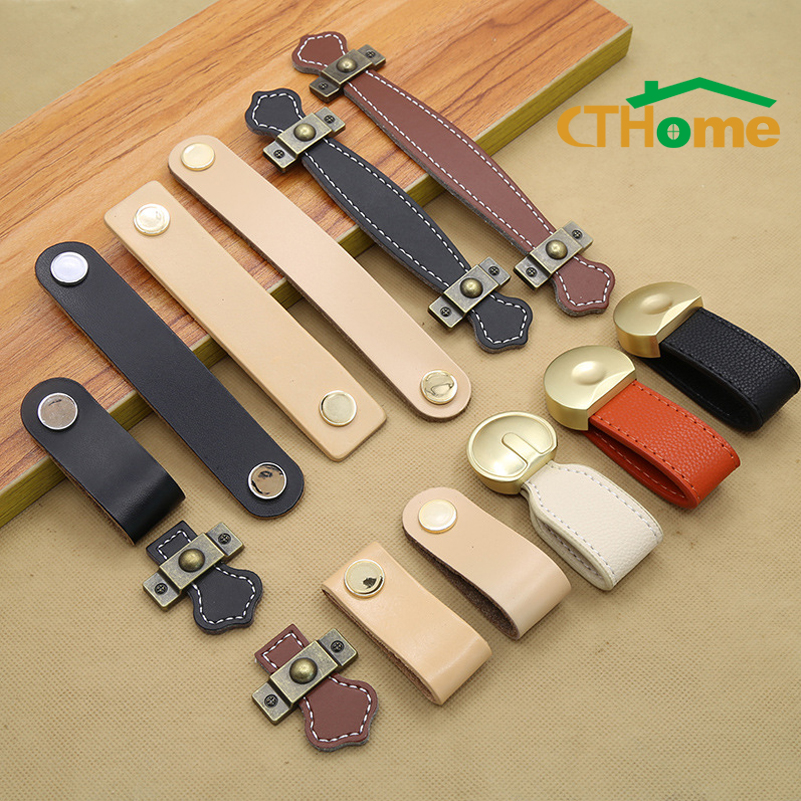 Leather Handle Bag Handle Drawer Door Knob Brown Black Furniture Handle Hardware Decoration Zinc Alloy Cabinet Dresser Handle