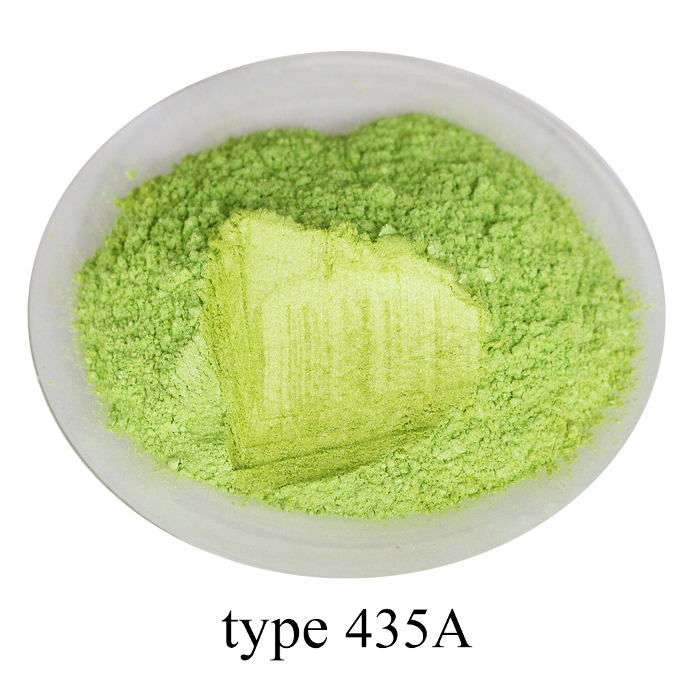 #435A Pearl Powder Pigment Acrylic Paint In Craft Art Automotive Paint Soap Eye Shadow Fluorescent Green Mica Powder Pigment 50g