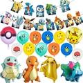 1 комплект Pikachuing воздушные шары с рисунками из мультфильмов в стиле японского аниме латекс Фольга шар баннер на день рождения с Pokemoned эльфы в...