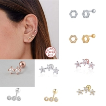 Romad New 925 Sterling Silver Small Studs Earring Women Classic Round Earrings Fashion Shiny Crystal Gem Stud Earrings 1pc