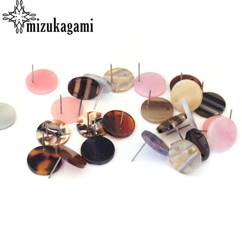 Acrylic Resin Stud Earring Round Base Earrings Connector 16MM Random Mixed Color For DIY Jewelry Earrings Making Accessories