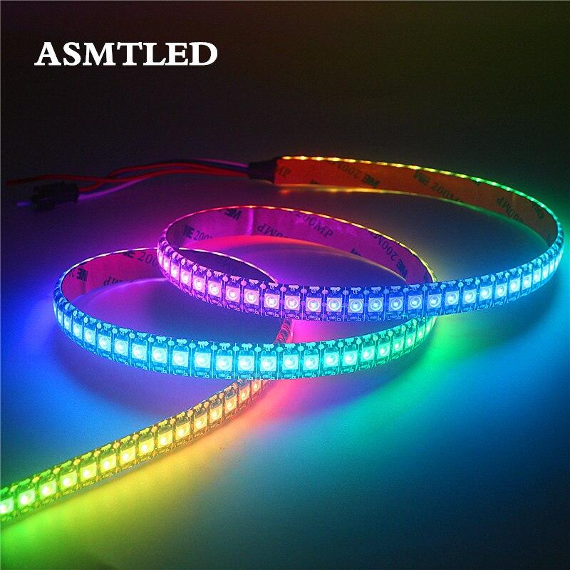 WS2812B DC5V LED Light Strip RGB 50CM 1M 2M 3M 4M 5M 30/60/144 LEDs Smart Addressable Pixel Black White PCB WS2812 IC Full Color