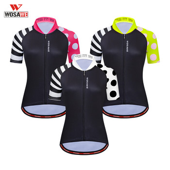 WOSAWE Women Cycling Jersey Short Sleeve Racing Sport MTB Bike Shirt Pro Team Bicycle Clothing Maillot Motorcycle