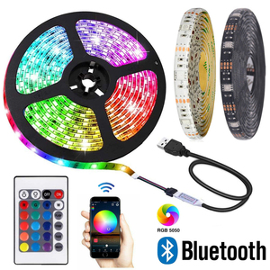 Bluetooth 5050 RGB LED Strip Lights DC 5V Tira USB Neon Tape Band Flexible Stripe Ambilight Backlight for Room TV PC Decoration