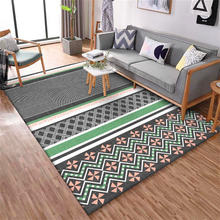Ковер в Корейском стиле серо зеленый геометрический мозаичный