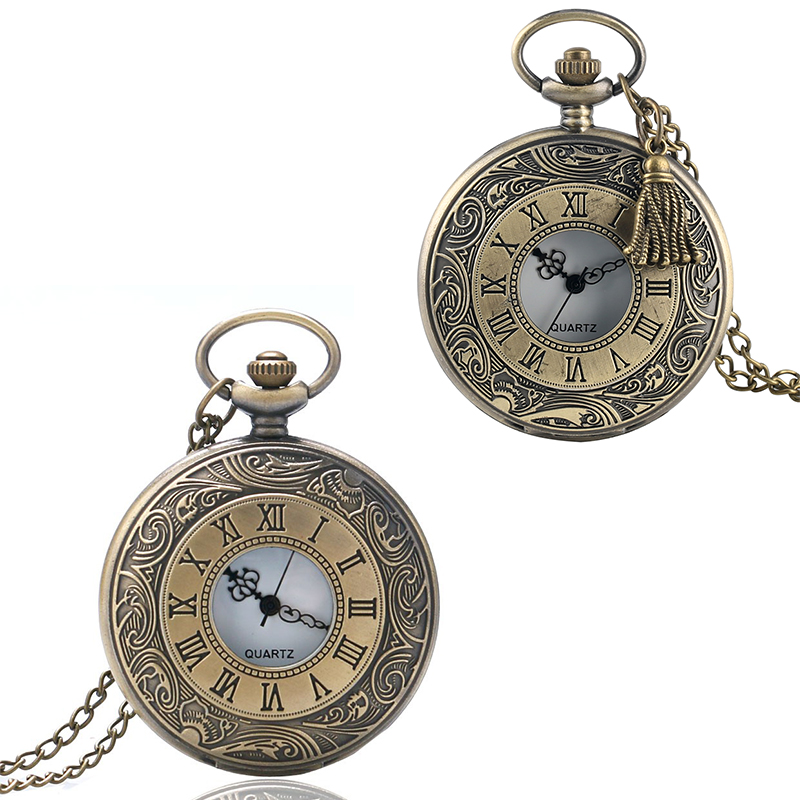 Accessory Pocket Watch Antique Bronze Roma Number Vintage Steampunk Women Necklace Men Pendant Chain Relogio De Bolso Gift