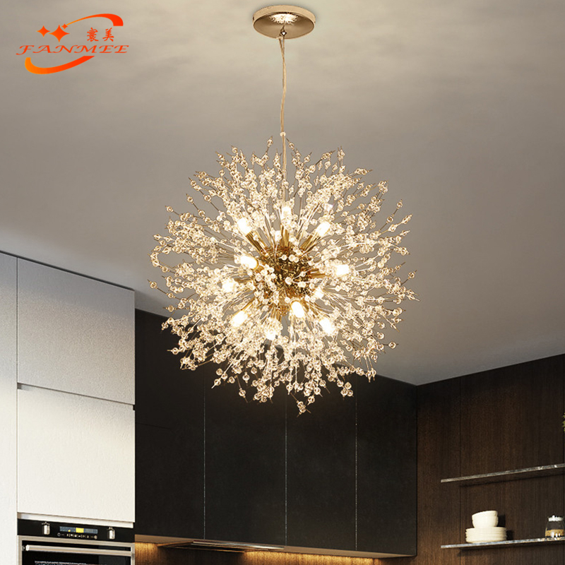 He40a3355641b426192e6305f8c632713a Modern LED Crystal Chandelier Light Pendant Hanging Lamp Dandelion Cristal Chandelier Lighting for Living Dining Room Decoration