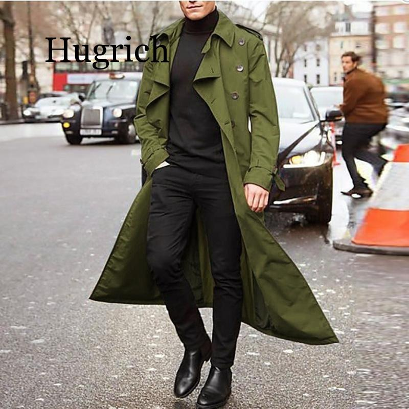 Men Overcoat Vintage Long Trench Coat Men new Jacket Coats Mens Business black Casual Long Solid Windbreak Coat Autumn Outwear
