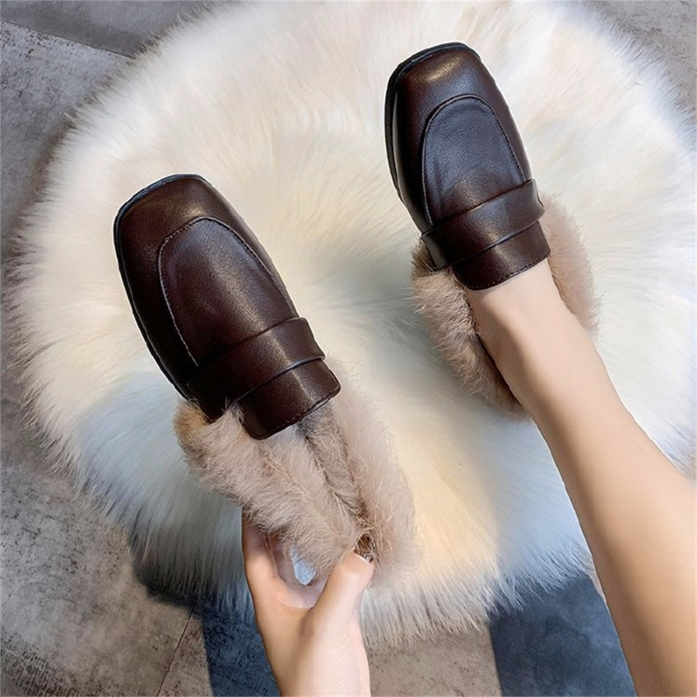 Autumn winter casual women shoes fluffy warm fluffy lining fashion black brown square toe women's shoes 37