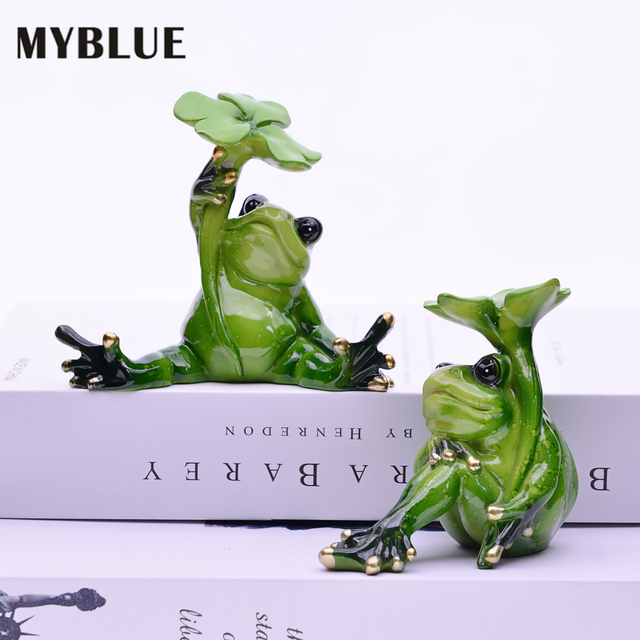 MYBLUE 2Pcs/Set Kawaii Animal  Resin Frog Fairy Garden Figurines Miniature Landscape Nordic Home Table Decoration Accessories 1