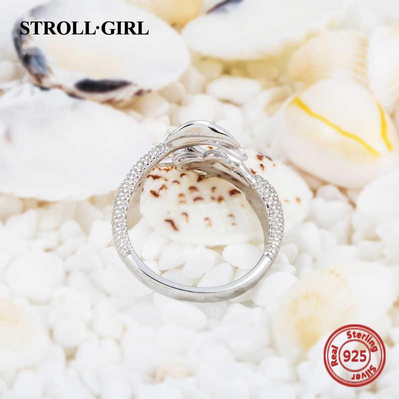 StrollGirl, Стерлинговое Серебро, 925, красивая русалка, регулируемое, открытый размер, кольцо, модное ювелирное изделие для женщин, подарок, бесплатная доставка