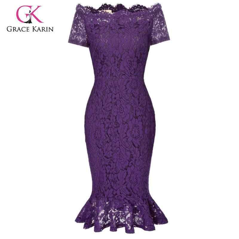 Grace Karin kadınlar için açık omuzlu kalem elbise zarif kalça-sarılmış Bodycon Mermaid dantel elbise zarif akşam parti elbiseler 2019