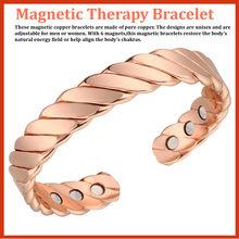 Pure Copper Bangle Homens Energia Magnética Ajustável Cuff Bracelet Femme Vintage Pulseiras Largas Pulseiras Para As Mulheres 15000 Gauss