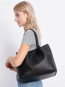 Inner-Zipper-Bag Handheld Genuine-Leather Woman High-Quality Manual Package Weave Out
