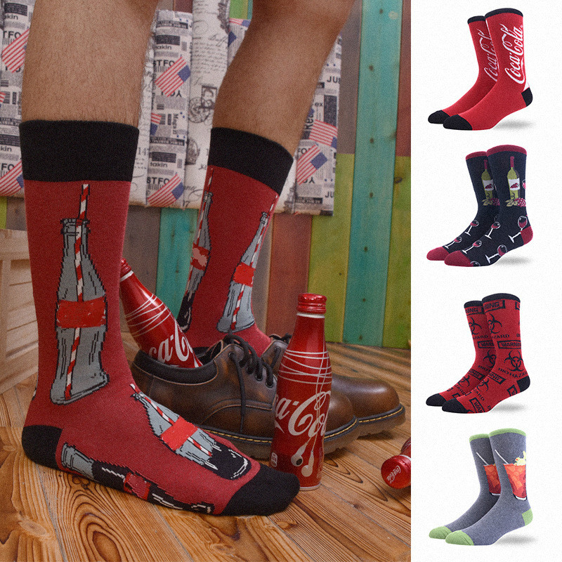 Moda Mulaya New Arrival Men's Socks Men 100% Combed Cotton Harajuku Novelty Mens Happy Socks Male Crew Funky Happy Socks For Man