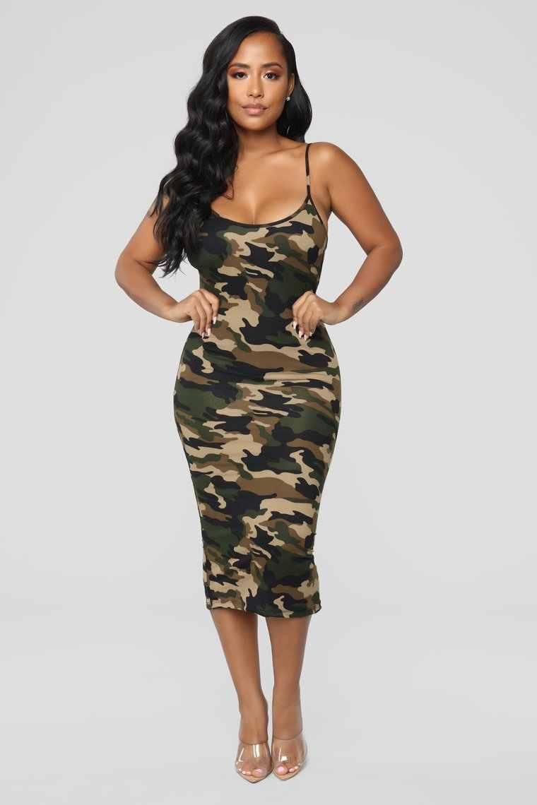 Hirigin 레이디 여름 캐주얼 드레스 Bodycon 미디 드레스 여성 위장 육군 어깨 스트랩 드레스 플러스 사이즈 S-XXL