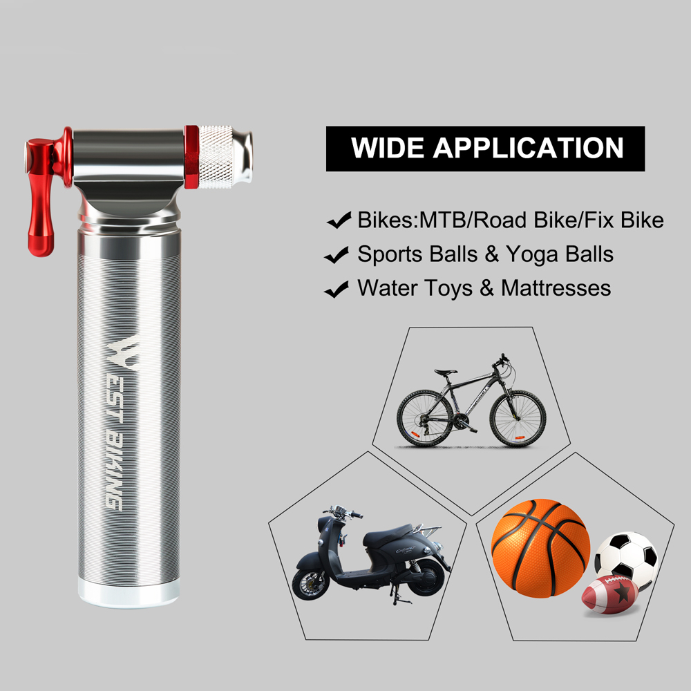 Quick /& Easy Bicycle Tire Pump for Road and Mountain Bikes CO2 Inflator AV//FV Valve Compatible Mini Inflatable Bike Pump Aluminum Alloy Air Inflator Accessories(Black) Sleeve
