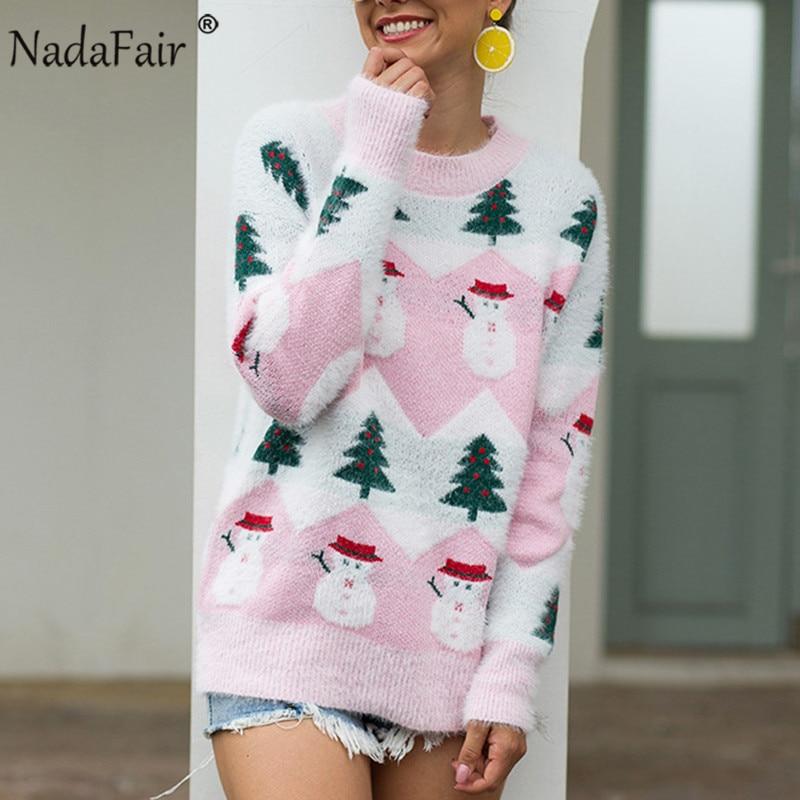 Nadafair Mohair Christmas Sweater Women Casual Pullover 2019 Oversized Knitted Sweater Winter Jumper Autumn Knitwear