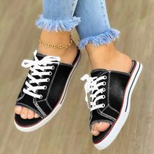 Women Slippers Summer Slides Peep Toe Breathable Home Denim Lace-up Thick Soled Sandals Shoes Zapatillas Mujer