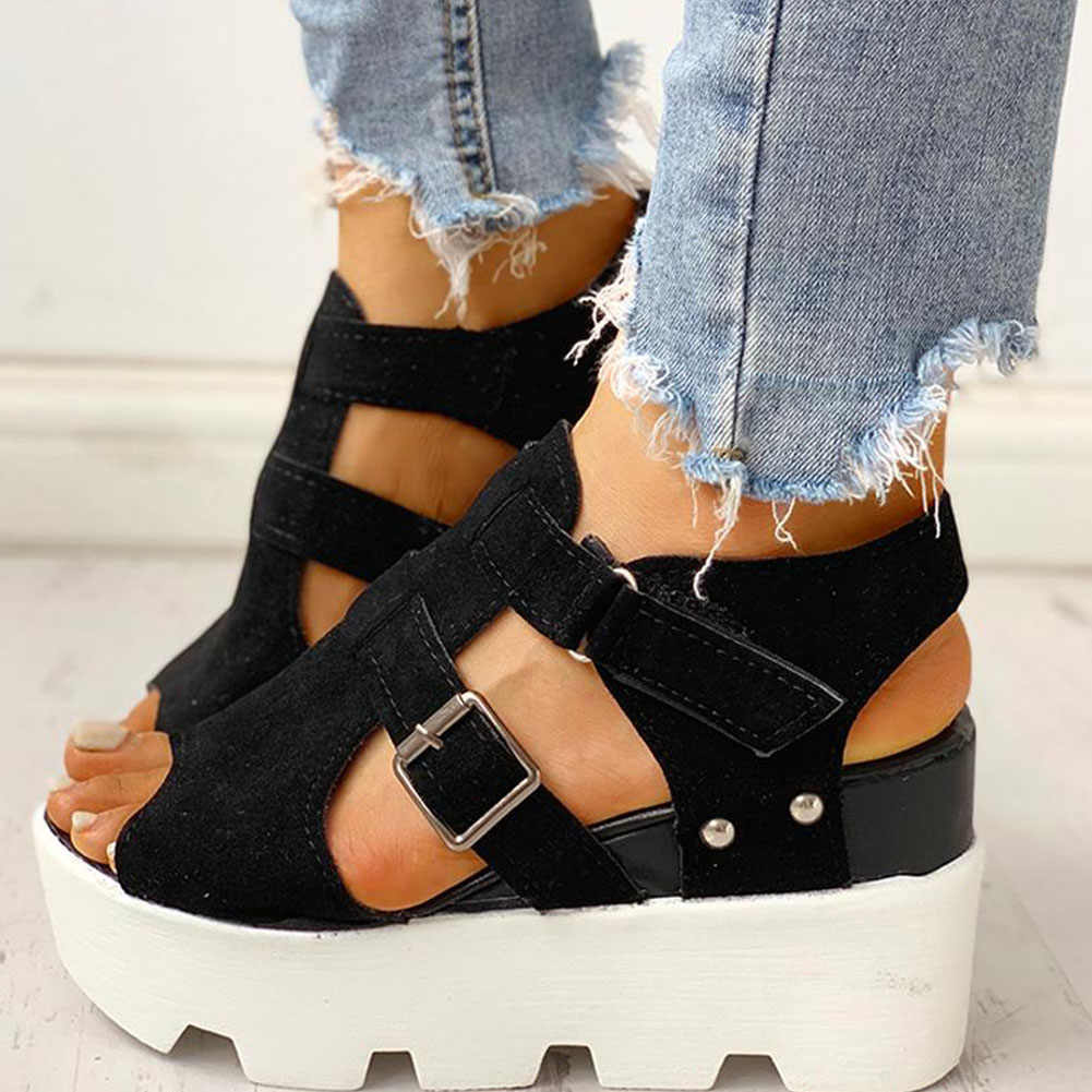 Lucyever 2020 אופנה קיץ פלטפורמה גבוהה עקבים סנדלי טריזים נוחים מזדמנים אור נעלי אישה סנדלי נקבה Sandalias