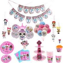 Lol surpresa festa suprimentos lol boneca omg aniversário suprimentos impresso boneca digital coroa balão criança decoração de natal presente