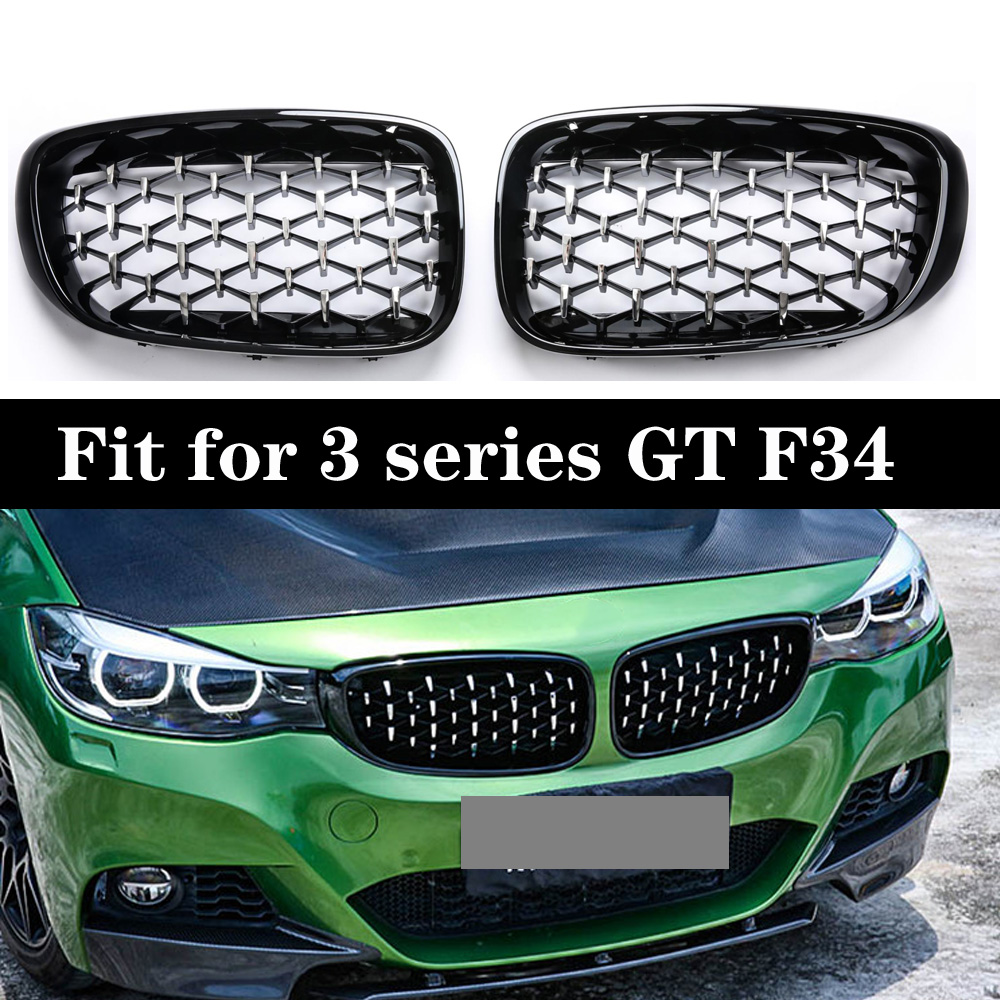 3 Series GT F34 Diamond Racing Grills Front Kidney Grille Bumper 2013 2019-in Racing Grills from Automobiles & Motorcycles