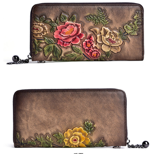 Image 3 - 정품 가죽 빈티지 여성 지갑 양각 된 여성 지갑 레트로 여러 카드 홀더 일일 클러치 긴 표준 지갑