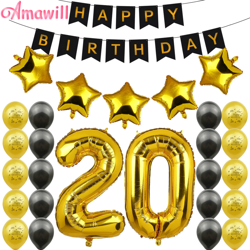 Amawill <font><b>20th</b></font> <font><b>Birthday</b></font> Party <font><b>Decoration</b></font> Kit 32inch Gold Number Balloon Happy <font><b>birthday</b></font> Latex Balloon 20 Years Old Party Decor 6D image