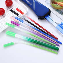 5Pcs/Set Reusable Metal Straw With Silicone Tips 304 Stainless Steel Cleaning Brush drinking straws Gradient Color