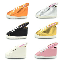 New Newborn Baby 3D Rabit Ear Gold Fashion PU Leather Shoes for Kids Sneakers Infant Crib Shoes Toddler Boys Girls First Walkers cheap Cross-tied All seasons Lace-Up Solid Unisex COTTON Fits true to size take your normal size