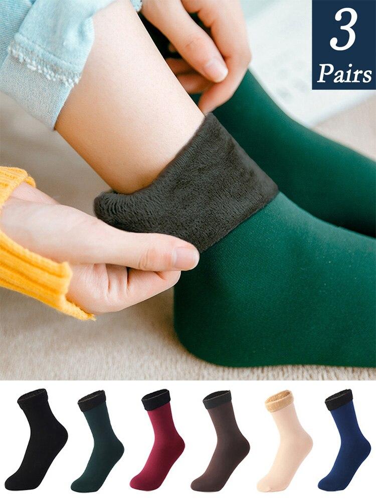 Warm Socks Velvet-Boots Snow Cashmere Nylon Thicken Floor-Sleep Solid-Color Women's Winter